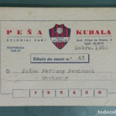 Coleccionismo deportivo: CARNET SOCIO PEÑA KUBALA - TEMPORADA 1956 -57. Lote 179012886
