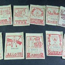 Collectionnisme sportif: 14 CUPÓN ENTRADA REAL MADRID CLUB FÚTBOL SOCIO 1954 1955 1956. Lote 180854637
