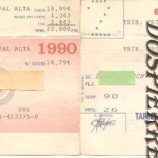Coleccionismo deportivo: TARJETA SOCIO-ABONO, BILBAO ATHLETIC CLUB, AÑO 1990. Lote 183953171