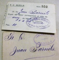 Colecionismo desportivo: FUTBOL CLUB ALELLA , SOBRE CON TIMBRE DEL CLUB Y CUPON DE PAGO AÑO 1920 FOOT-BALL. Lote 184376168
