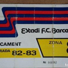 Coleccionismo deportivo: TARJETA DE APARCAMIENTO SOCIO - ESTADIO FC. BARCELONA - TEMPORADA 1982/83 -. Lote 186173762