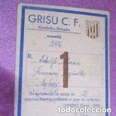 Coleccionismo deportivo: GRISU CLUB DE FUTBOL MINERO DE ASTURIAS CARNET DE SOCIO 1956. Lote 186309405