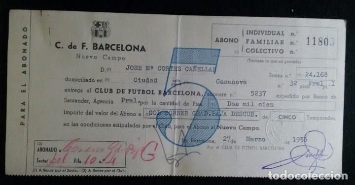 FC BARCELONA. ABONO POR 5 TEMPORADAS. AÑO 1956. POR CAMBIO DE LOCALIDAD AL NUEVO CAMPO (CAMP NOU) (Coleccionismo Deportivo - Documentos de Deportes - Carnet de Socios)