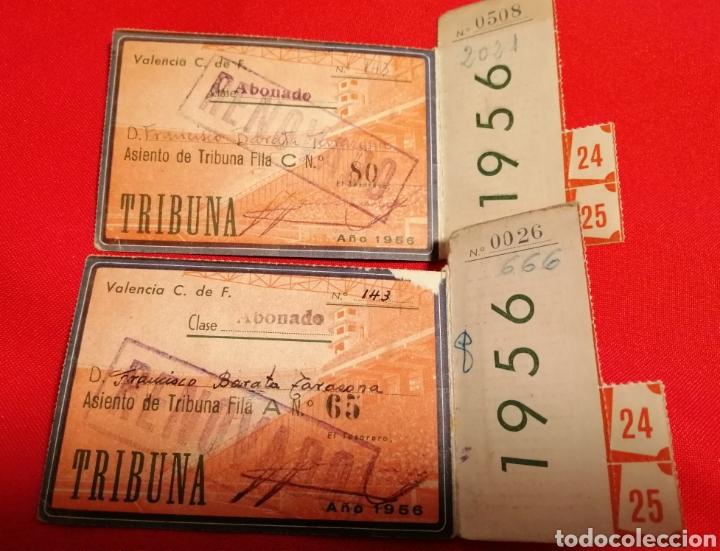 Coleccionismo deportivo: VALENCIA. C.F. LOTE 2 PASES 1956. MESTALLA. MISMO SOCIO - Foto 2 - 189781252