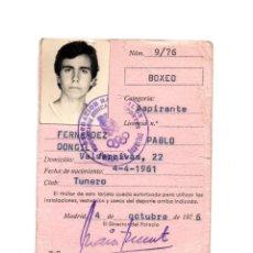 Coleccionismo deportivo: CARNET DE BOXEO. 1976.. Lote 190814422