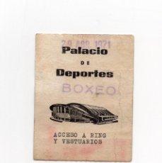 Coleccionismo deportivo: PASE BOXEO. PALACIO DE LOS DEPORTES. ACCESO RING Y VESTUARIOS.. Lote 190818062