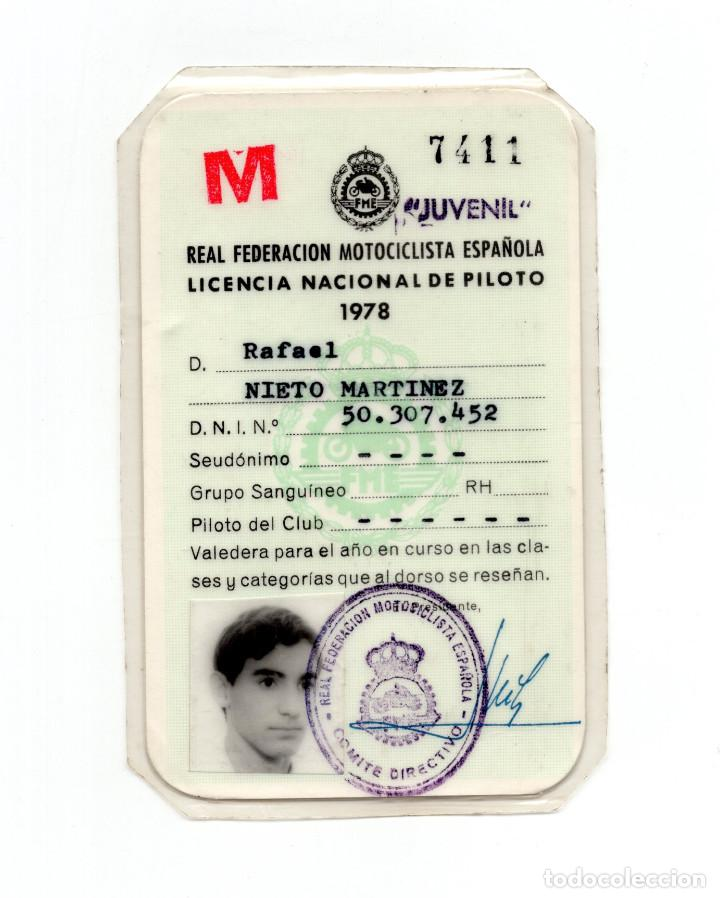 MOTOCICLISMO.- LICENCIA NACIONAL DE PILOTO. REAL FEDERACIÓN MOTOCICLISTA DE PILOTO 1978. (Coleccionismo Deportivo - Documentos de Deportes - Carnet de Socios)
