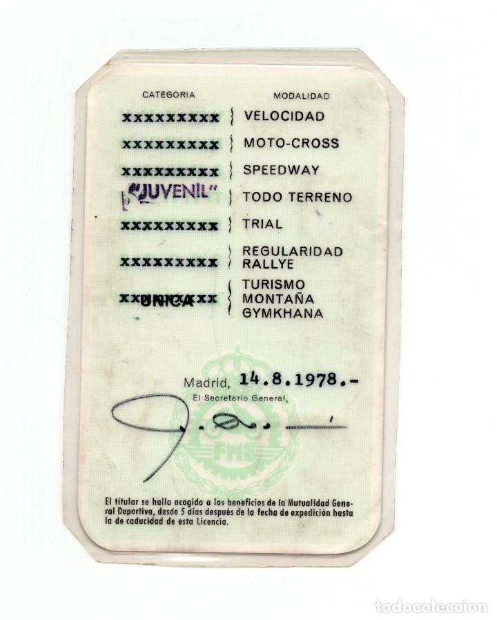 Coleccionismo deportivo: MOTOCICLISMO.- LICENCIA NACIONAL DE PILOTO. REAL FEDERACIÓN MOTOCICLISTA DE PILOTO 1978. - Foto 2 - 190818790