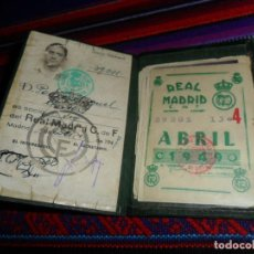 Coleccionismo deportivo: CARNET DE SOCIO REAL MADRID 1947 CON 9 CUPÓN 1948 1949. REGALO POSTAL CAMPEÓN LIGA 1962 1963 FIRMADA. Lote 191143833