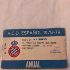Collectionnisme sportif: CARNET SOCIO RCD ESPAÑOL 1978-79. Lote 191306868