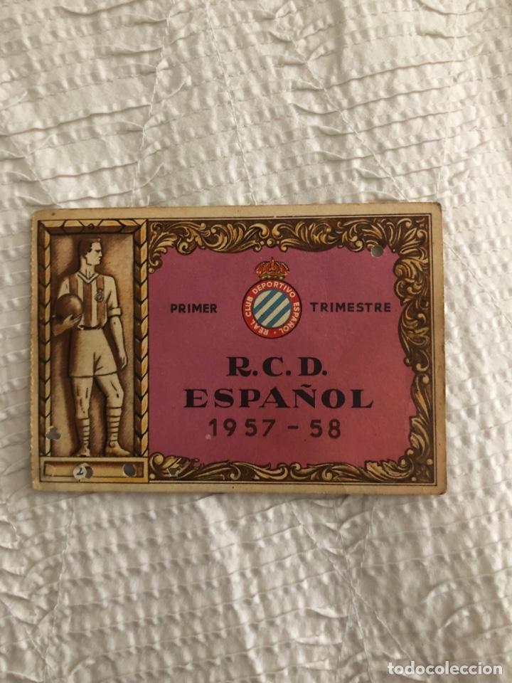 CARNET SOCIO RCD ESPAÑOL 1957/58 (Coleccionismo Deportivo - Documentos de Deportes - Carnet de Socios)