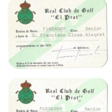 Coleccionismo deportivo: DOS CARNET SOCIO FUNDADOR Nº873 Nº 874 REAL CLUB DE GOLF EL PRAT AÑO 1979 S AEREO CATALUÑA. Lote 191990652