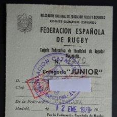 Coleccionismo deportivo: TARJETA FEDERATIVA DE AL FEDERACIÓN ESPAÑOLA DE RUGBY, PARA EL CLUB NATACIÓN MONTJUICH DEL AÑO 1970. Lote 192047166