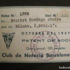 Coleccionismo deportivo: CLUB NATACIO BARCELONA-CARNET PATENT DE SOCI-OCTUBRE ANY 1937-GUERRA CIVIL-VER FOTOS-(67.330). Lote 193270448