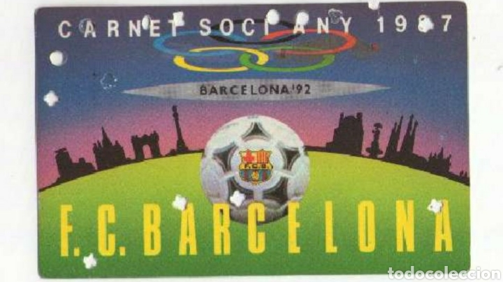 CARNET SOCIO F C BARCELONA 1987 (Coleccionismo Deportivo - Documentos de Deportes - Carnet de Socios)