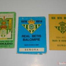 Coleccionismo deportivo: LOTE 3 CARNE DE FUTBOL DEL REAL BETIS TEMPORADAS -77-78 -78-79 -82-83. Lote 195651526