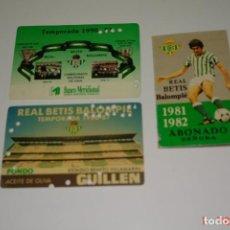 Coleccionismo deportivo: LOTE 3 CARNE DE FUTBOL DEL REAL BETIS TEMPORADAS -81-82 -86-87 -90-91. Lote 195652012