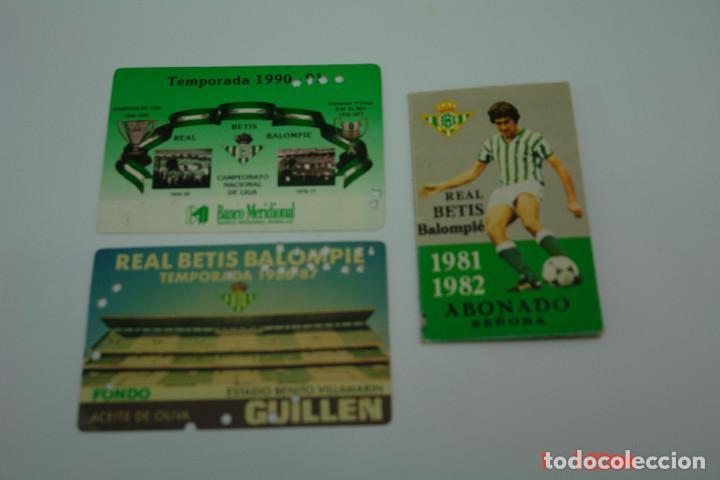 Coleccionismo deportivo: LOTE 3 CARNE DE FUTBOL DEL REAL BETIS TEMPORADAS -81-82 -86-87 -90-91 - Foto 2 - 195652012