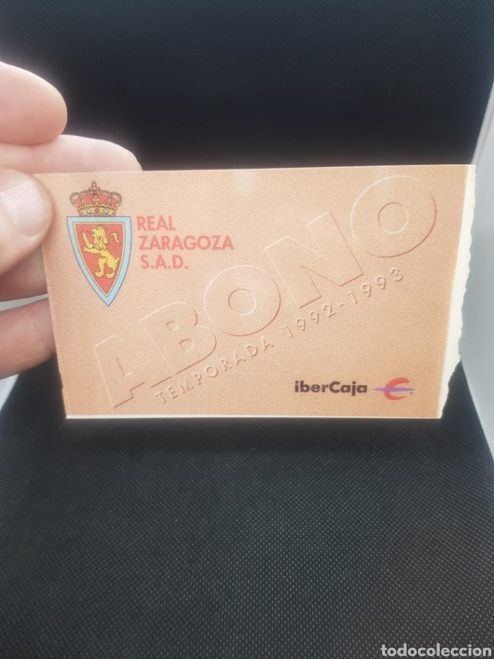 ABONO REAL ZARAGOZA 1992/1993 (Coleccionismo Deportivo - Documentos de Deportes - Carnet de Socios)