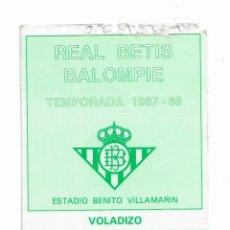 Colecionismo desportivo: CARNET DE REAL BETIS BALOMPIÉ- ESTADIO BENITO VILLAMARÍN- TEMPORADA 1987/1988. Lote 195996148