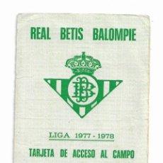 Coleccionismo deportivo: CARNET DE REAL BETIS BALOMPIÉ-LIGA 1977/1978. Lote 195997287