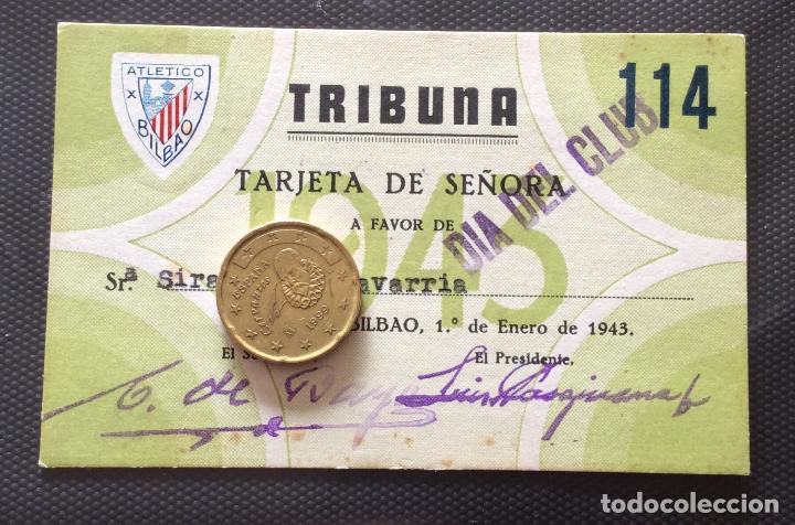ATHLETIC CLUB DE BILBAO TARJETA DE SOCIA .AÑO 1943 (Coleccionismo Deportivo - Documentos de Deportes - Carnet de Socios)