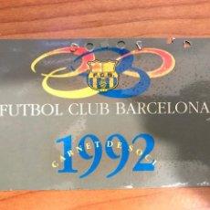 Coleccionismo deportivo: CARNET SOCIO F.C. BARCELONA - PRIMER TRIMESTRE 1992. Lote 196642176