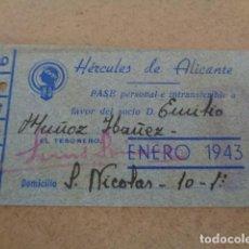 Coleccionismo deportivo: HERCULES DE ALICANTE. PASE PERSONAL ENERO 1943.. Lote 197974957