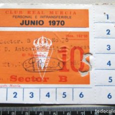 Coleccionismo deportivo: CARNET SOCIO ABONO REAL MURCIA CF JUNIO 1970 BUEN ESTADO 10 X 8 CM, NO ES ENTRADA. Lote 198311621