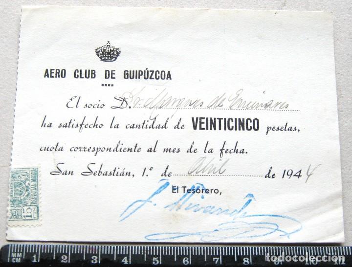 ABONO CUOTA AERO CLUB DE GUIPUZCOA GIPUZKOA ABRIL 1944 BIEN CONSERVADO, ENTRADA JUSTIFICANTE (Coleccionismo Deportivo - Documentos de Deportes - Carnet de Socios)