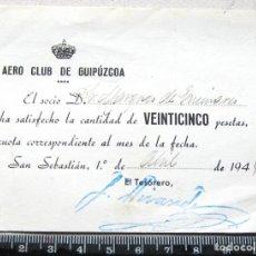 Coleccionismo deportivo: ABONO CUOTA AERO CLUB DE GUIPUZCOA GIPUZKOA ABRIL 1944 BIEN CONSERVADO, ENTRADA JUSTIFICANTE. Lote 198311766