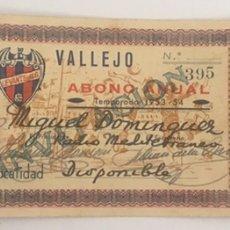 Coleccionismo deportivo: ABONO LEVANTE U.D TEMPORADA 1953-54. VALENCIA. Lote 198992225