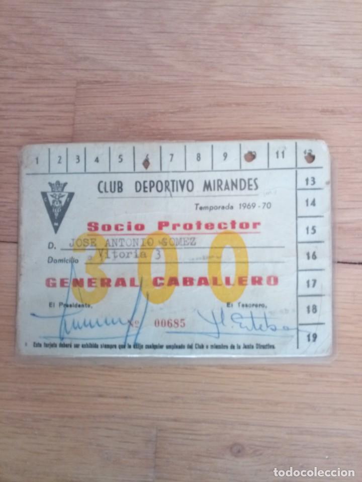 CARNET FÚTBOL CLUB DEPORTIVO MIRANDÉS 1969 (Coleccionismo Deportivo - Documentos de Deportes - Carnet de Socios)