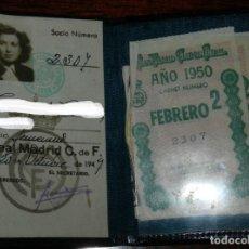 Coleccionismo deportivo: ANTIGUO CARNET DE SOCIO DEL REAL MADRID CLUB DE FUTBOL. AÑO 1949, CONTIENE 2 CUPONES.. Lote 201638751