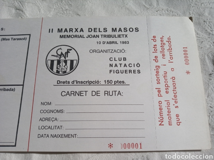 Coleccionismo deportivo: Lote carnets deportivos club natacio Figueres.girona.1983.Marxa dels masos.esport.olimpic.catalunya - Foto 2 - 201950297