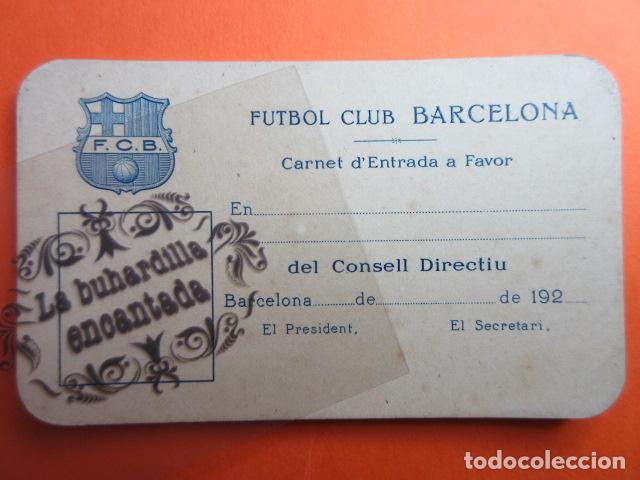 PIEZA UNICA DE MUSEO SIN USAR FUTBOL CLUB BARCELONA AÑOS 192X CARNET F.C. F. C. (Coleccionismo Deportivo - Documentos de Deportes - Carnet de Socios)