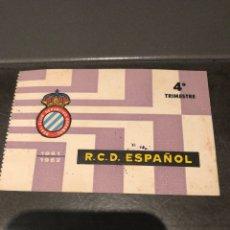 Coleccionismo deportivo: CARNET SOCIO RCD ESPAÑOL 61/62 4O TRINESTRE. Lote 204465378
