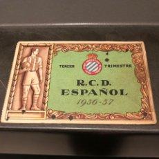Coleccionismo deportivo: CARNET SOCIO RCD ESPAÑOL 56/57 3ER TRIMESTRE. Lote 204468007
