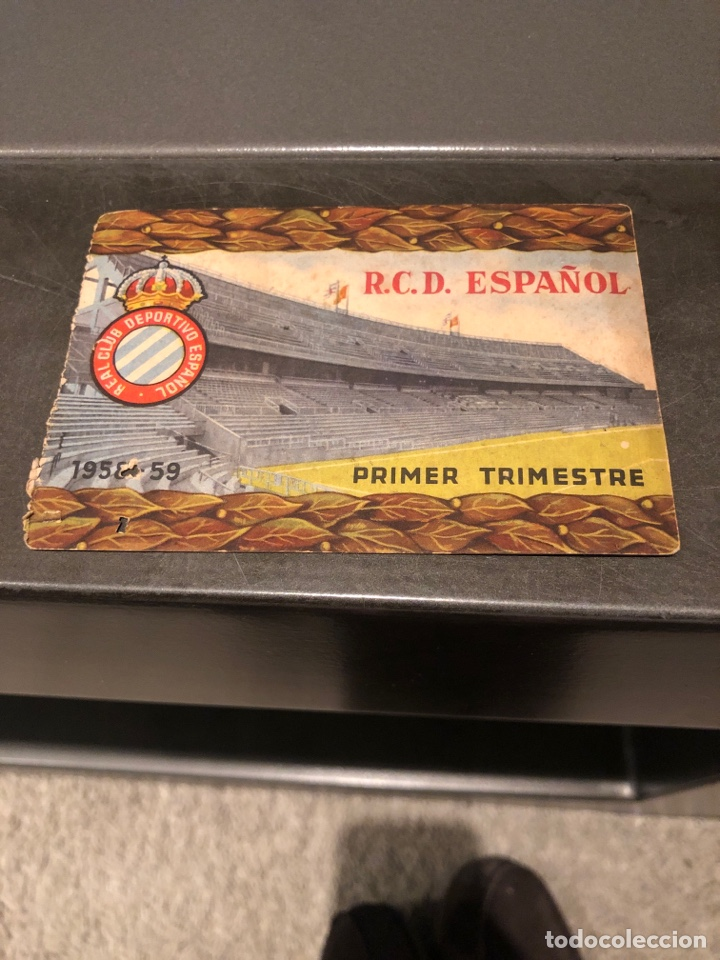 CARNET SOCIO RCD ESPAÑOL 58/59 1ER TRIMESTRE (Coleccionismo Deportivo - Documentos de Deportes - Carnet de Socios)