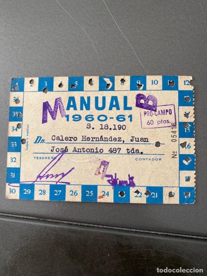 Coleccionismo deportivo: Carnet socio futbol rcd español anual 1960/61 - Foto 2 - 205368997