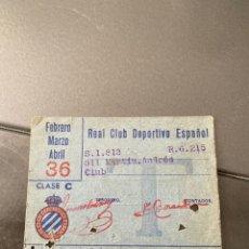 Coleccionismo deportivo: CARNET SOCIO RCD ESPAÑOL AÑOS 40. Lote 205373690