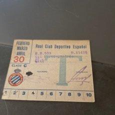 Coleccionismo deportivo: CARNET SOCIO RCD ESPAÑOL AÑOS 40 TRIMESTRAL. Lote 205442062