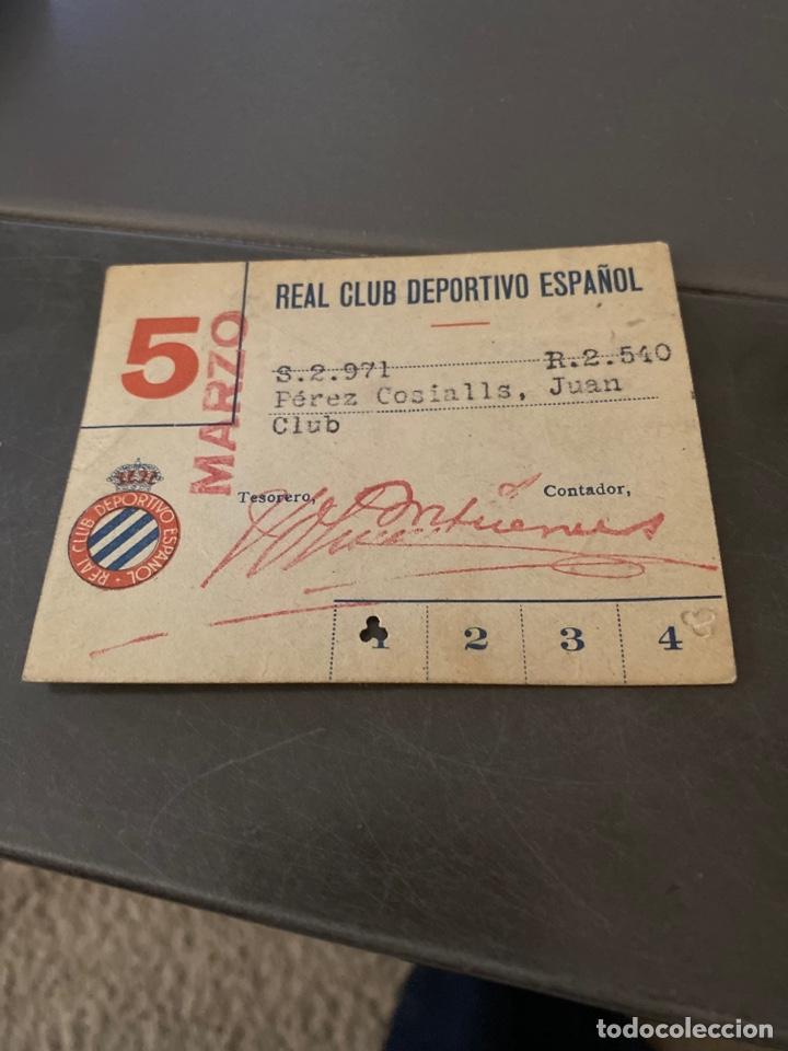 CARNET SOCIO FUTBOL RCD ESPAÑOL AÑOS 40 MENSUAL (Coleccionismo Deportivo - Documentos de Deportes - Carnet de Socios)
