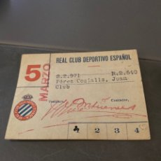 Coleccionismo deportivo: CARNET SOCIO FUTBOL RCD ESPAÑOL AÑOS 40 MENSUAL. Lote 205442666