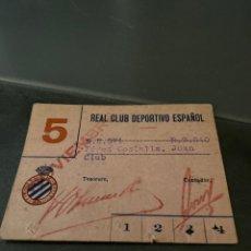 Collectionnisme sportif: CARNET SOCIO RCD ESPAÑOL AÑOS 40. Lote 205443296