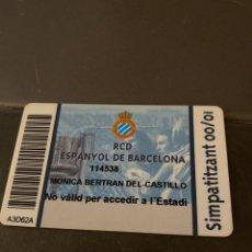 Coleccionismo deportivo: CARNET SOCIO RCD ESPANYOL SIMPATITZANT 00/01. Lote 205444116