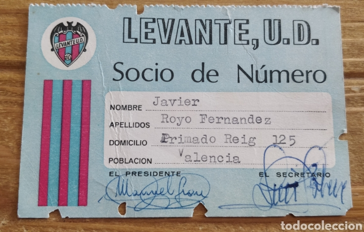 CARNET DE SOCIO LEVANTE U.D. 1975 (Coleccionismo Deportivo - Documentos de Deportes - Carnet de Socios)