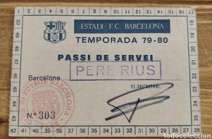 PASE DE ENTRADA ESTADI CAMP NOU FC BARCELONA 79-80 (Coleccionismo Deportivo - Documentos de Deportes - Carnet de Socios)