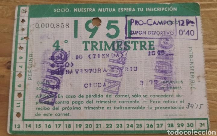 CARNET DE SOCIO FC BARCELONA 4° TRIMESTRE 1951 (Coleccionismo Deportivo - Documentos de Deportes - Carnet de Socios)