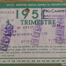 Coleccionismo deportivo: CARNET DE SOCIO FC BARCELONA 4° TRIMESTRE 1951. Lote 205710838